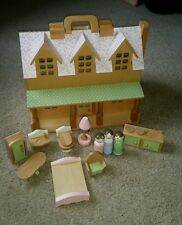 Pottery Barn Kids Augusta Wooden Dollhouse with Dolls & Furniture EUC Complete!