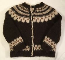 Hilda LTD Women's Size XS-S 100% Pure Icelandic Wool Cardigan SWEATER Brown