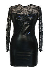 Sexy Black Wet Look Bodycon Vinyl Mini Dress Sheer Lace Dance Club Stripper 107