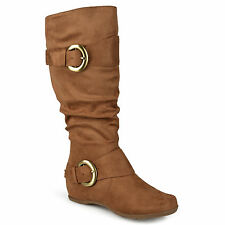 Journee Collection Womens Slouch Buckle Knee-High Boots Camel Shoe Sz 9