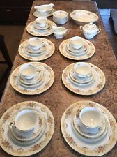 "40 Pc 7 Ppl Noritake Dish China Set ""N"" Imperial China Gold Rim"