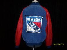New York NY Rangers NHL Vintage Bomber Jacket Leather Suede Large