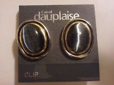 * NEW * CAROL DAUPLAISE SIlver, Gold & Black Stud Style Earrings - Clip On