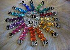 20 Sew On Rhinestones Crystal DIY Colors Princess Cut Rectangle Flat Back Beads