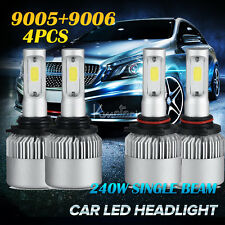 4pcs 9005/HB3 9006 Total 240W COB Single Beam LED Headlights Bulbs Car Lamps