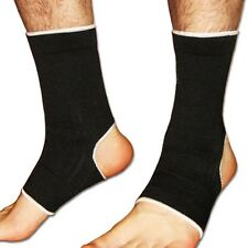 2 x Black Elasticated Ankle Supports Foot Bandage Brace Sleeves Wrap Arthritis