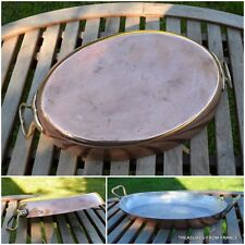"French Gaillard oval 14"" x 9 1/2"" new tin copper gratin roasting fry pan cuivre"