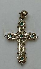 14 k Yellow Gold Natural Emerald Real DIAMOND Scroll Cross pendant 1.25 Inches