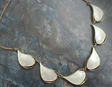 Attractive Norwegian Sterling Silver & White Enamel Necklace -  Ivar Holt Norway