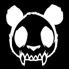 "Skull Zombie Panda Evil Mad Dead Goth Vinyl Decal Car Sticker 4.63"" x 5"" White"