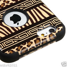 "iPhone 6 Plus 5.5"" Hybrid T Armor Defender Case Skin Cover Zebra Leopard Black"