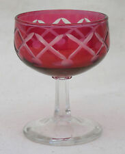 Ludwig Moser Stem Cut to Clear Cranberry Glass Bohemian Karlovy Vary 1990
