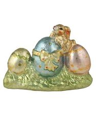 Bethany Lowe Foil Bunny on Three Easter Eggs Ceramic Figure