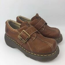 Ladies Brown Leather Buckle Shoes By Dr Martens Size UK4