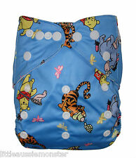 Reusable Modern Cloth Nappy (MCN) + Microfibre insert Winnie The Pooh & Tigger