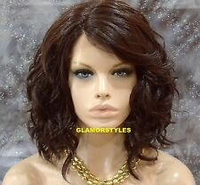 "20"" Wavy Layered Brown Lace Front Wig Heat Ok Natural Hair Part Hair Piece #4"