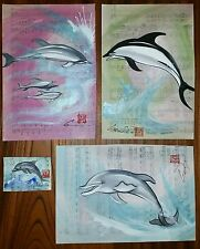 Cramolini *Crazy Deal ! * *4* Dolphin Art Orig Painting Drawing *1 Aceo Ooak