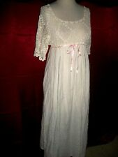 EDWARDIAN TITANIC ERA IRISH CROCHET TOP LINGERIE COTTON GOWN M