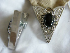 NEW HANDCRAFTED BLACK ONYX STONE COLLAR TIPS SILVER METAL,GOTH,WESTERN,COWBOY