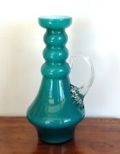 Mid Century Hooped Aqua Teal Blue White Cased Art Glass Jug Clear Celery Handle