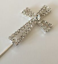 DIAMANTE CROSS Cake Topper PICK COMMUNION CONFIRMATION SPARKLY BLING SHINEY