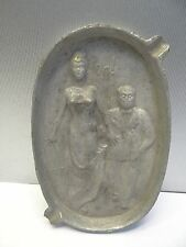 Vintage White Metal Art Deco Style Risqué Naughty Oh! Lady Cigarette Ashtray