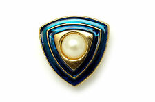 22MM GOLD / BLUE TRIANGLE BUTTON (x 2 Buttons)