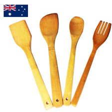 Kitchen Bamboo Utensil Set  Wooden Long Cooking Spoons Pancake Scoop Turner
