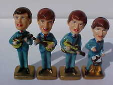 1960's COMPLETE SET OF 4 BEATLES BOBBLE HEAD CAKE TOPPERS