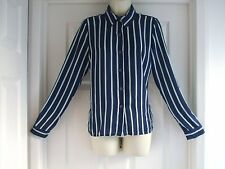 fits size 10 strippy womens blouse shirt Ladies Summer Winter Party Formal Work