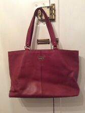 WOMENS COLE HAAN RED LEATHER TOTE SHOULDER LAPTOP BAG PURSE SZ. LARGE