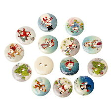 100PCs Mixed Wood Sewing Buttons Christmas Pattern Scrapbooking DIY 15mm