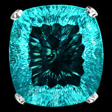41.9 CT DEEP GREEN SEA APATITE CUSHION FACET SILVER 925 COCKTAIL RING SIZE 6.5