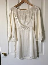 Seduce White Silk Dress Size 6 Vintage 60s Style Beaded Bell Sleeves Boho Hippie