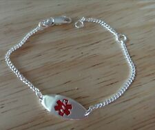 "5-6"" Adjustable Sterling Silver Baby Child 20x8mm Red Medical Alert Bracelet"