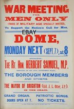 WW1 RECRUITING POSTER WAR MEETING BRIGHTON DOME BRITISH ARMY NEW A4 PRINT