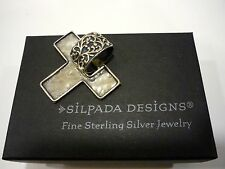 SILPADA S1514 Oxidized Hammered Sterling Silver Reversible Cross Pendant 1.5""
