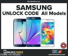 Unlock Code Samsung Galaxy Note 5 4 3 S7 S6 S5 S4 S3 Core Mini Alpha Bell Virgin
