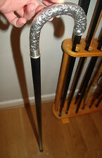 Sterling Silver Walking Stick High Relief Handle 925 Silver Victorian Style Cane