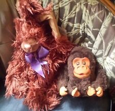 """2 STUFF ANIMALS """"LONG HAIRED RABBIT"""" WITH TAG AND A """"GORILLA"""" BATTERY OPERATED"""