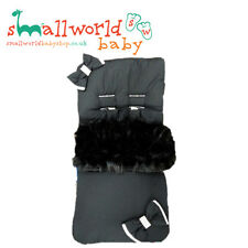 Black Cotton And Fur Footmuff Cosytoes (NEXT DAY DISPATCH)