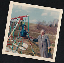 Old Vintage Photograph Grandma Standing With Little Child on Slide 198