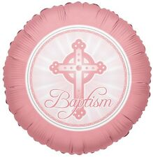 "18"" Baby Girl Pink Baptism Round Balloon Decoration Celebration Blessing"