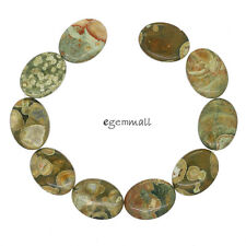 "10 Natural Green Rhyolite Flat Oval Beads 15x20mm 8"" #85481"