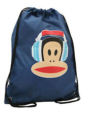 PAUL FRANK - JULIUS MONKEY HEADPHONES NYLON DRAWSTRING GYM/BOOT BAG - NAVY BLUE