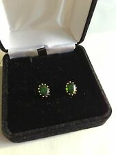 14K GOLD 3.64CTW OVAL RUSSIAN CHROME DIOPSIDE STUD EARRINGS  NEW
