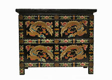 Asian Chinese Black Small Wooden Side End Table Chest w/Painted Dragon Feb17-02