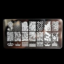 Nail Art Template Lace Flowers Leaf Beehive King Crown Polish Stamping Plate L08