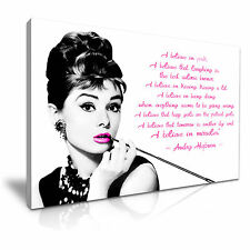 Audrey Hepburn Quote I Believe in Pink Canvas Wall Art Picture Print 76cmx50cm