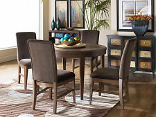 RHODES - Modern 5pcs Round Dining Room Table & Microfiber Chairs Set Furniture